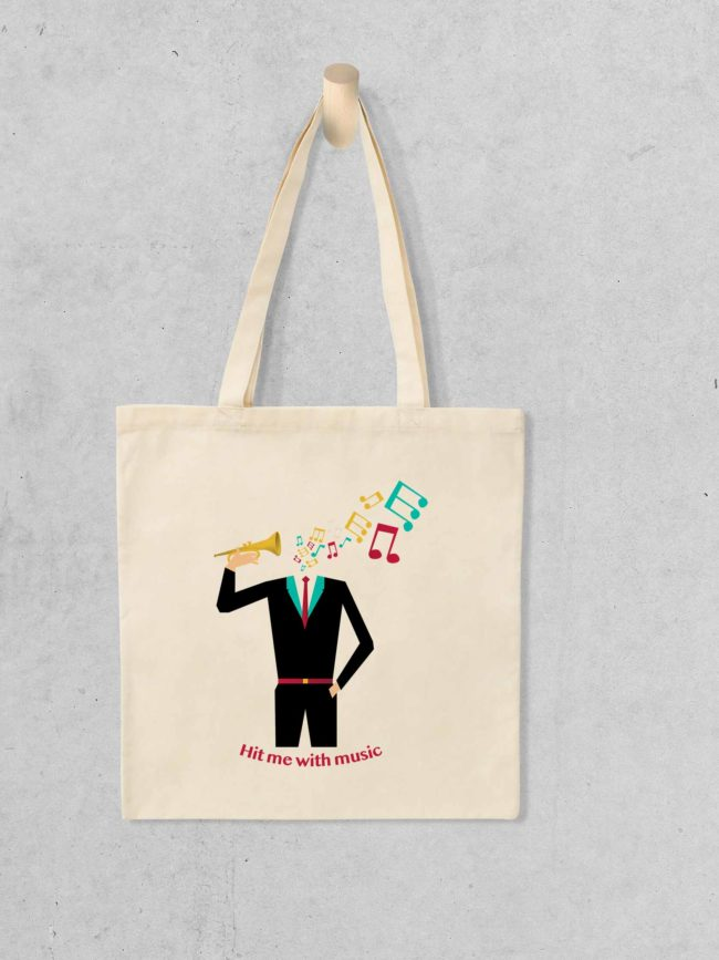 Tote bag Hit me with music