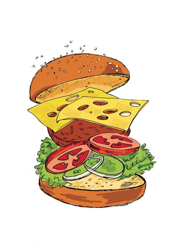 T-shirt BFF burger