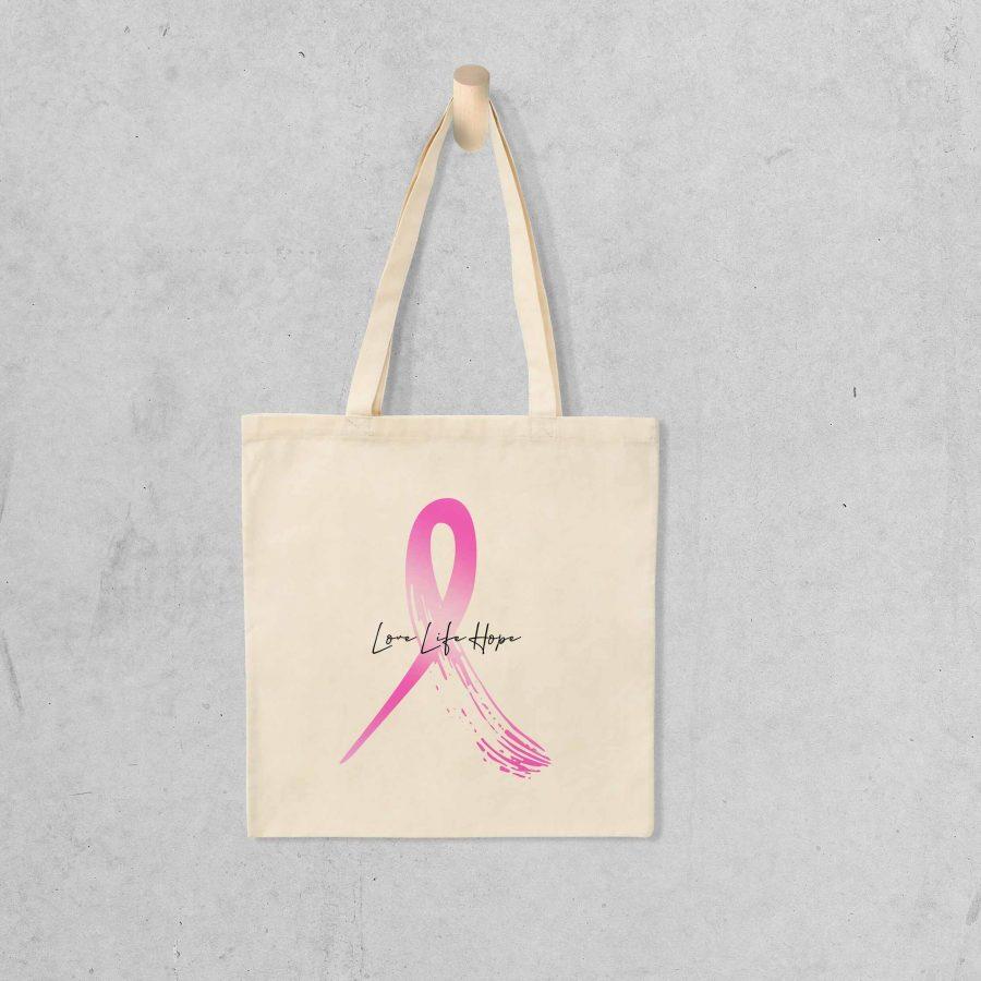 Tote bag Hope 1 – Ruban rose
