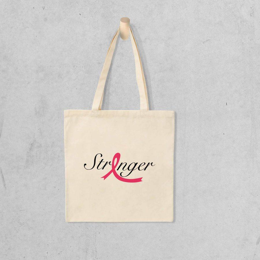 Tote bag Stronger 1 – Ruban rose
