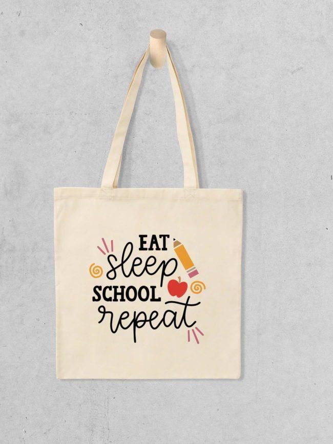 Tote bag Eat Sleep School Repeat