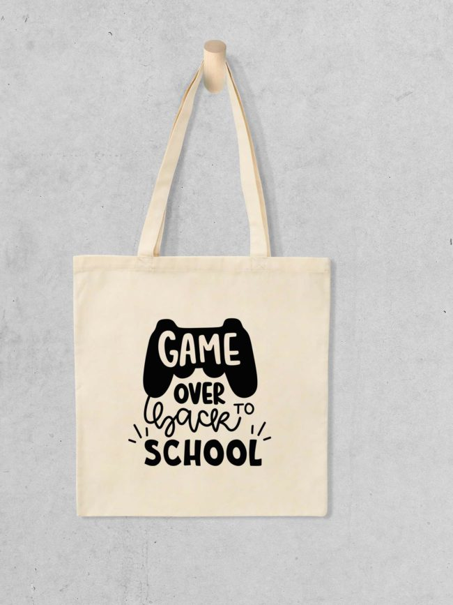Tote bag Game over back to school