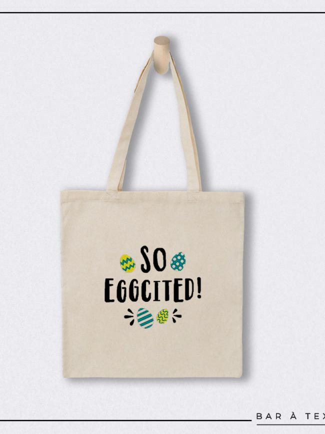 Tote bag So eggcited ! jaune