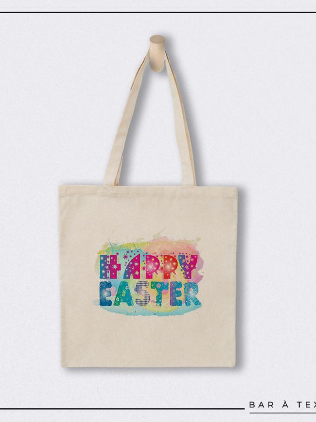 Tote bag Happy Easter coloré